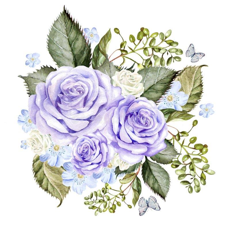 Een mooi waterverfboeket met rozen en vlinder vector illustratie