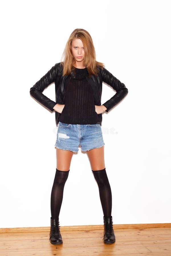 Een mooie blonde gezichtsclose-up stock foto