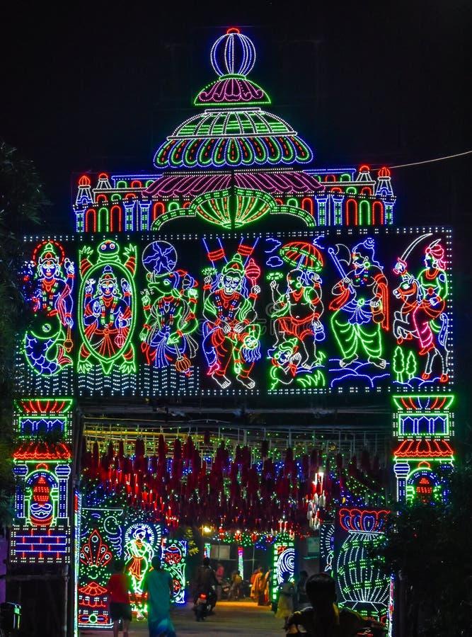 Een mooie decoratie bij een Hindoese gelegenheid stock afbeeldingen