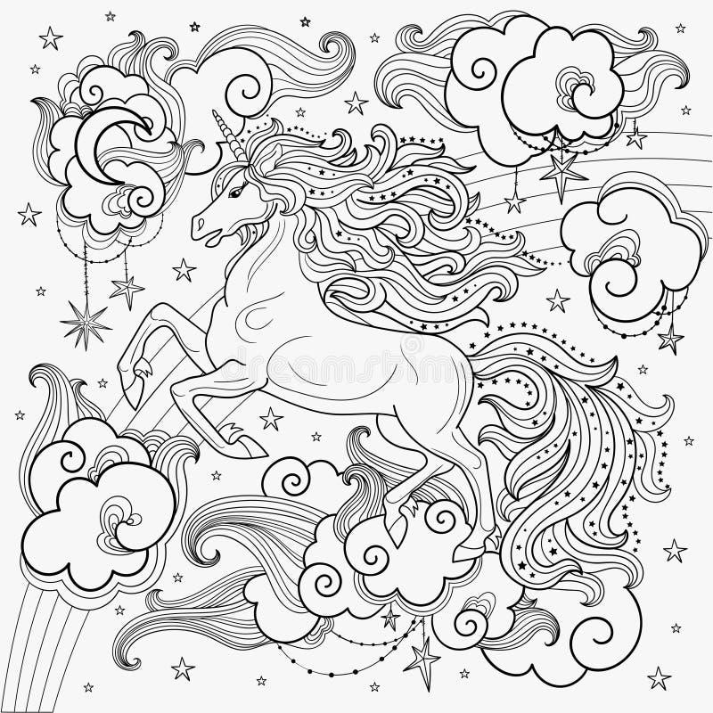 Een mooie eenhoorn onder de wolken Rebecca 36 royalty-vrije illustratie