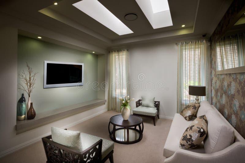 Een mooie fatsoenlijke humeurige woonkamer met een TV stock foto's