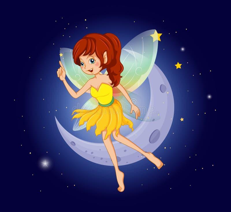 Een mooie fee bij de hemel dichtbij de maan vector illustratie
