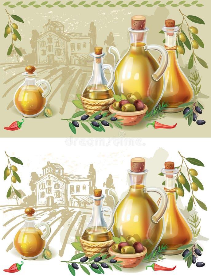 In een mooie fles, gekleed met kruiden stock illustratie