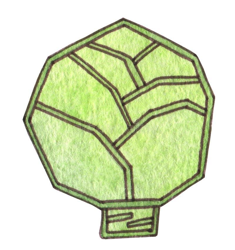 Een mooie groene kool Juiste voeding, veganist, vegetarisch, organisch, gezond voedsel Verse sappige heldere kool De tekening van royalty-vrije illustratie