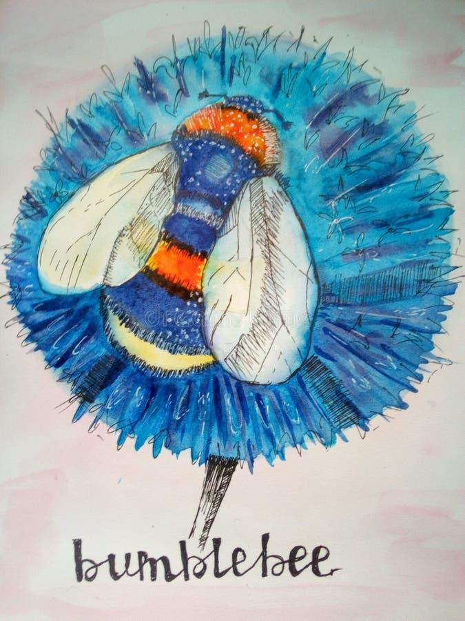 Een mooie hommel zit op een bloem Waterverfschets royalty-vrije illustratie