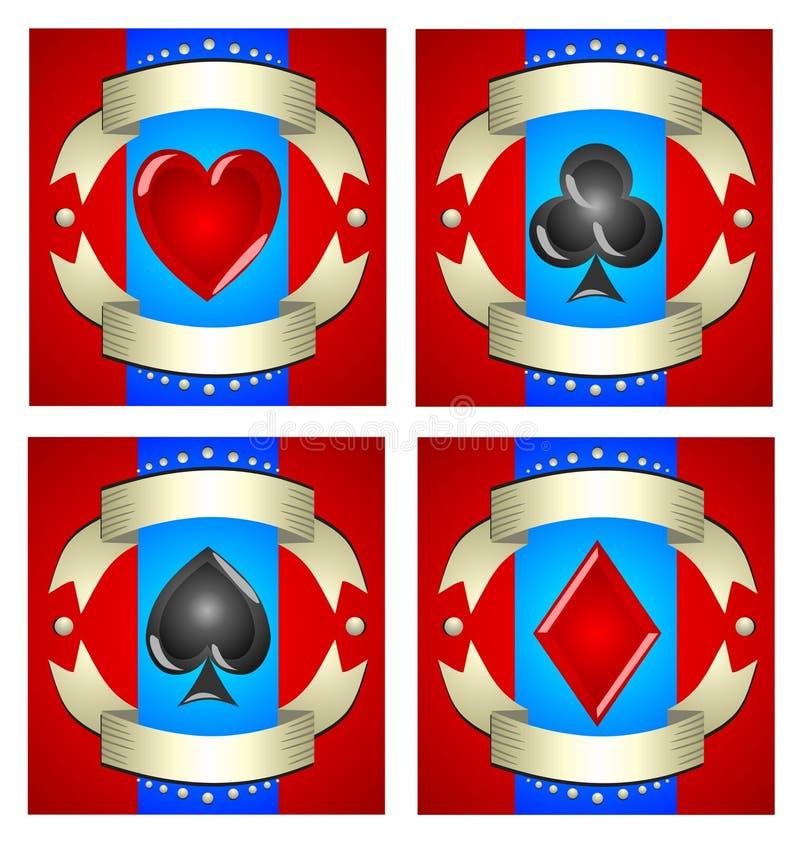 Een mooie illustratie van speelkaarten voor casino's, groef mach royalty-vrije illustratie