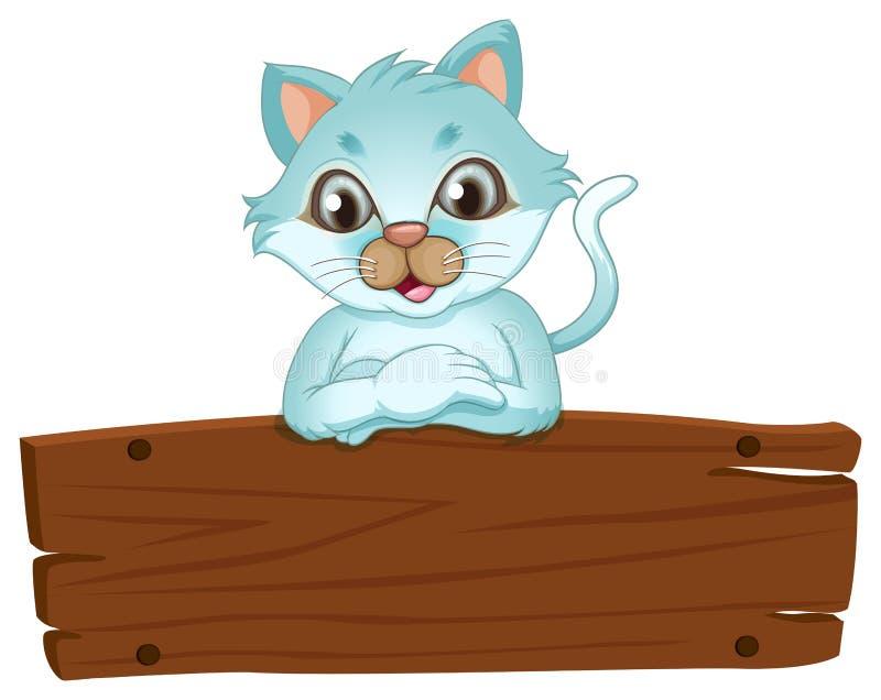 Een mooie kat die over het houten uithangbord leunen vector illustratie