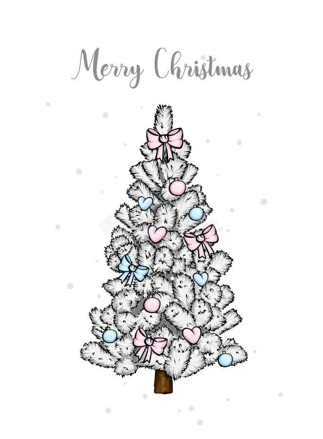 Een mooie Kerstboom in de vector Illustratie voor een kaart of een affiche Nieuwjaar ` s en Kerstmis vector illustratie