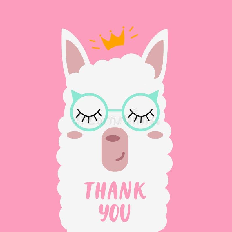 Een mooie Lama met glazen die 'zeggen dankt u ` stock illustratie