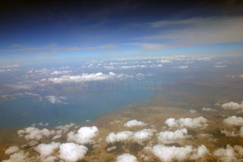 Een mooie mening van Aarde van het vliegtuig royalty-vrije stock foto