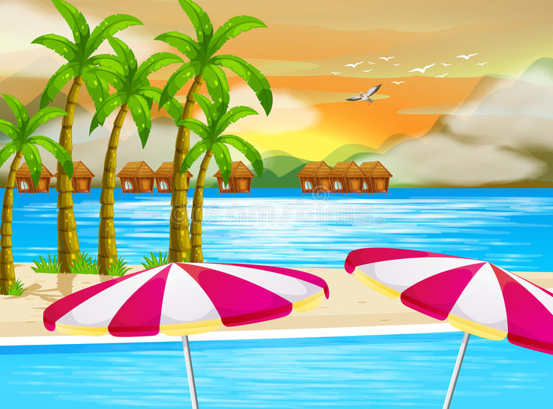 Een mooie mening van het strand vector illustratie