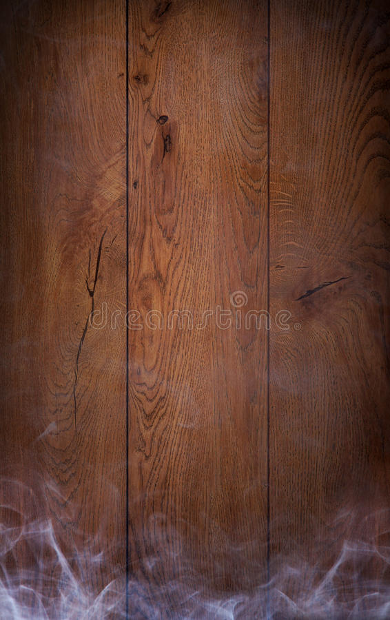 Een mooie oude houten achtergrond met rook stock fotografie