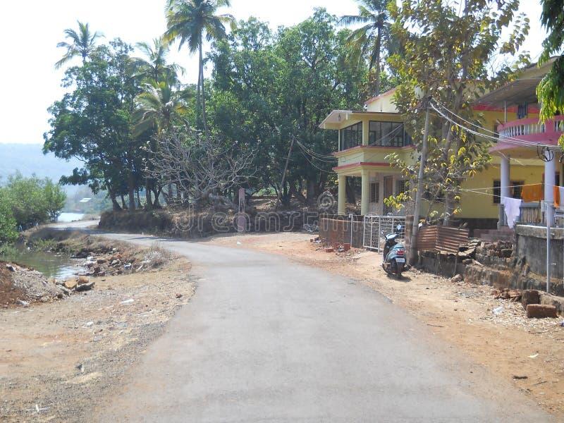 Een mooie scène van een klein Indisch dorp stock foto's