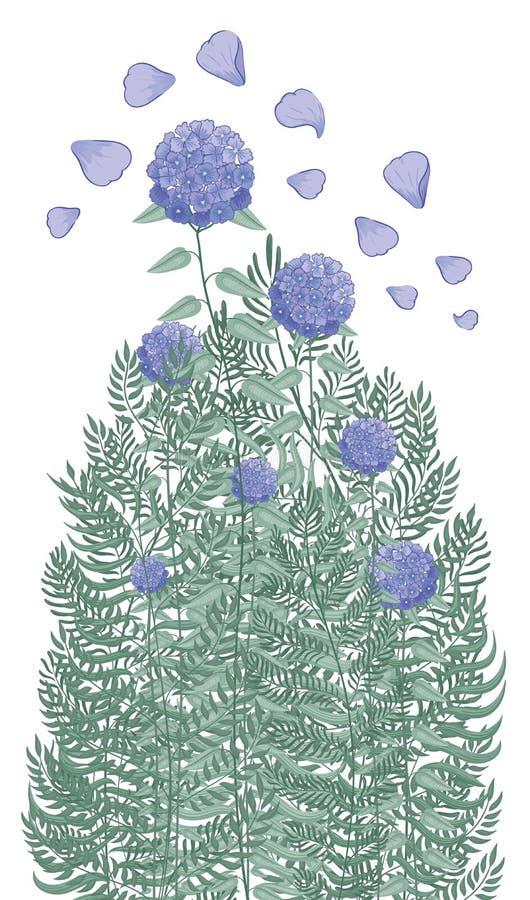 Een mooie struik van purpere hydrangea hortensia's en diverse tuinkruiden stock illustratie