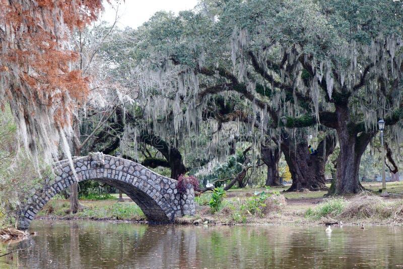 Een mooie toneelmening van het stadspark van New Orleans, Louisiane stock foto