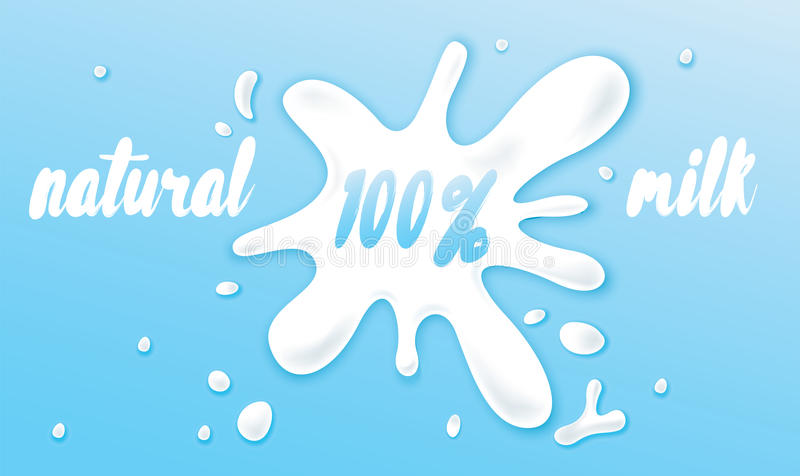 Een mooie vulklei van gemorste melk Vector illustratie Melkdrank Kant-en-klare reclameconcept of reeks elementen voor ontwerp stock illustratie