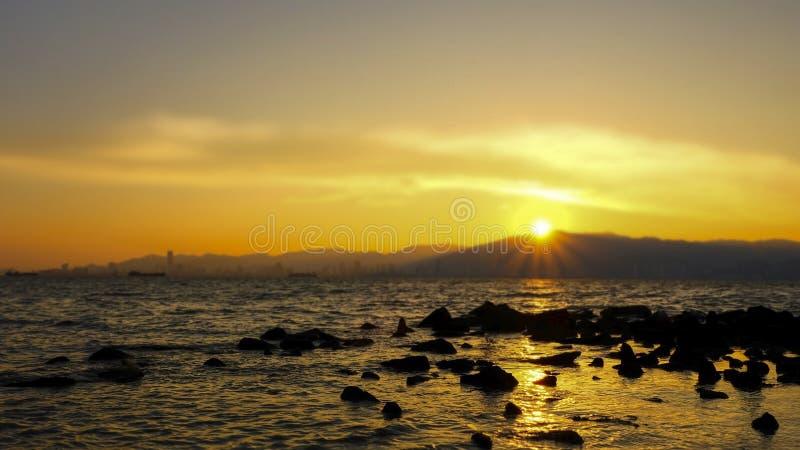 Een Mooie Zonsondergang in Avond stock foto's