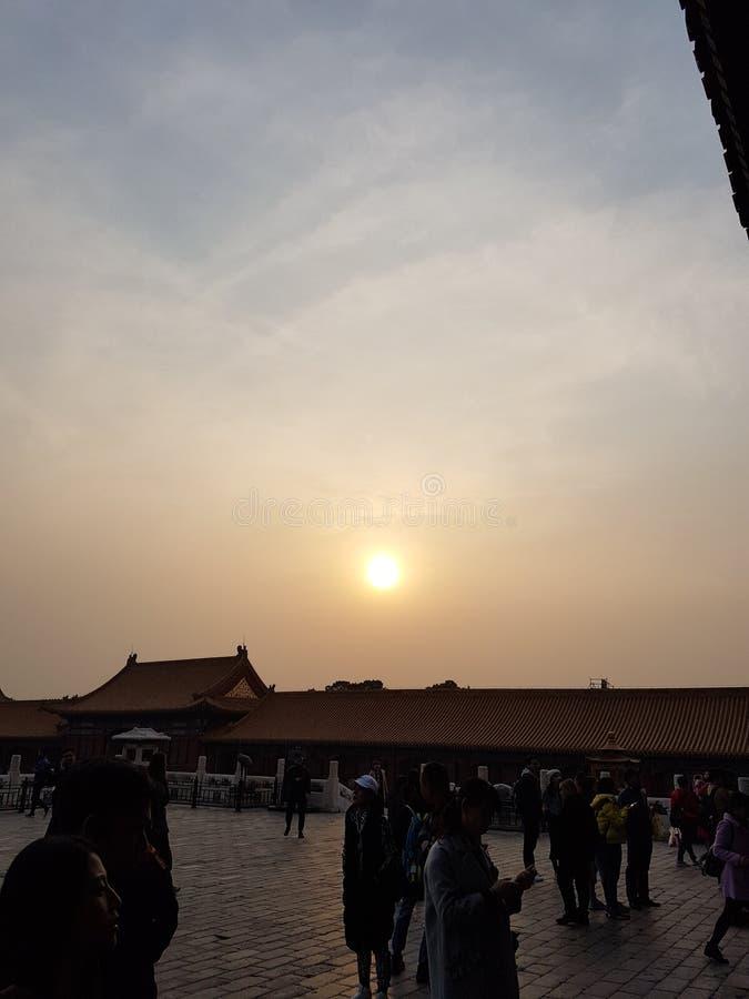 Een mooie zonsondergang over de verboden stad stock afbeelding