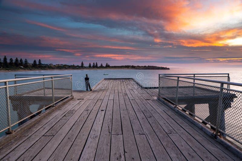 Een mooie Zonsopgang over de iconische pier van havenelliot in horsesh royalty-vrije stock fotografie