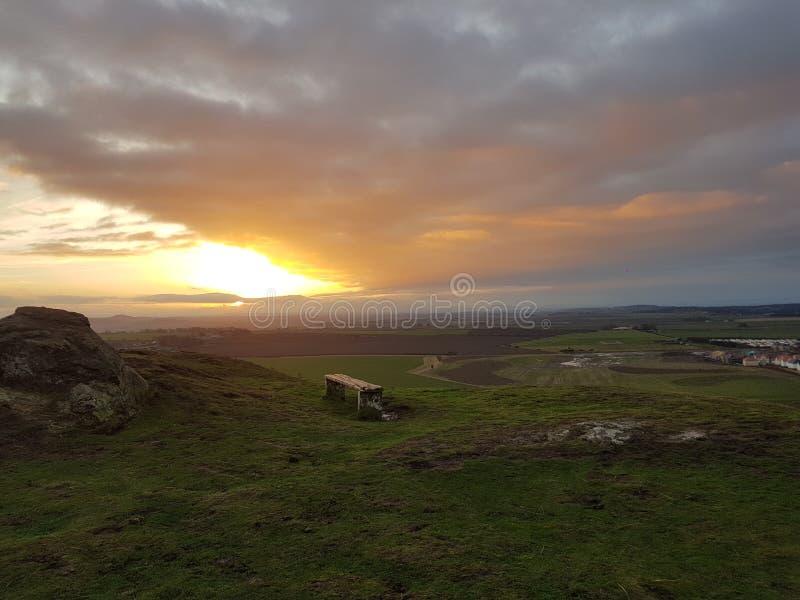 Een mooie zonsopgang in Yorkshire legt vast royalty-vrije stock afbeeldingen