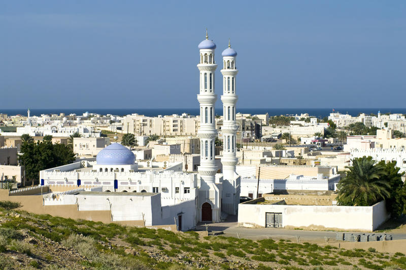 Een moskee in Sur, Oman royalty-vrije stock afbeeldingen