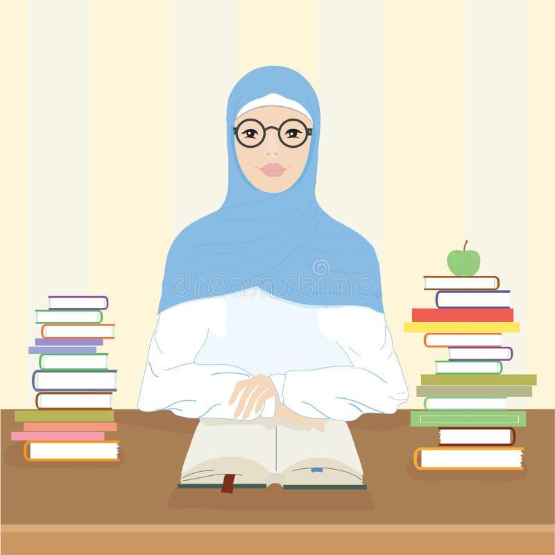 Een Moslimvrouw zit bij een lijst en leest een boek stock illustratie