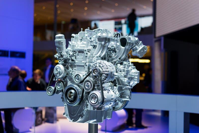 Een motor op vertoning bij de autoshow royalty-vrije stock afbeelding