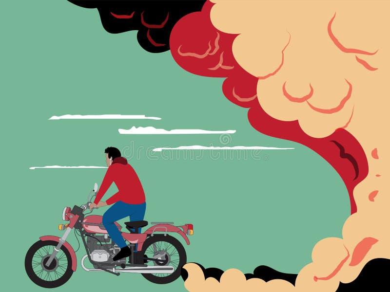 Een motorrijder berijdt/uitlaat stock illustratie