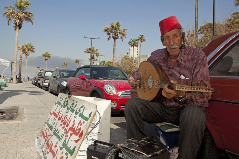 Een musicus, Beiroet, Libanon stock afbeeldingen