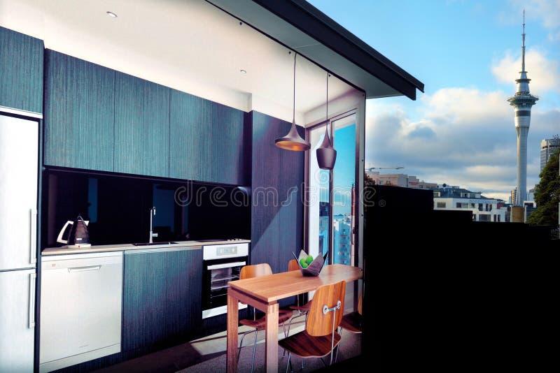 Een muurschildering van moderne flat in de stadscentrum van Auckland stock afbeelding
