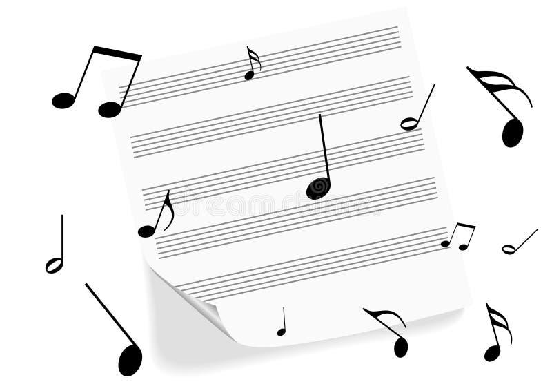 Een muziek-blad op witte achtergrond stock illustratie