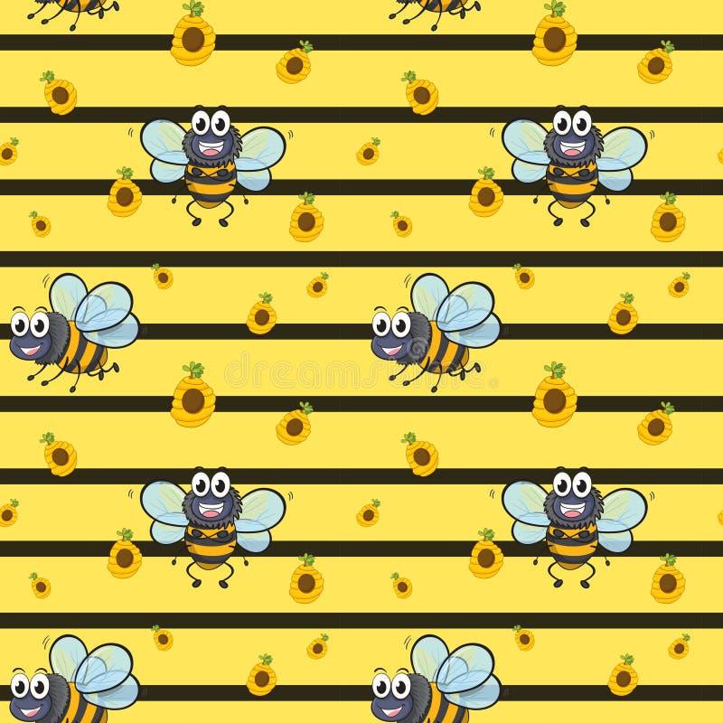 Een naadloos ontwerp met het glimlachen van bijen vector illustratie