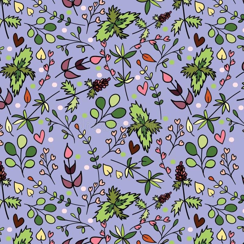 Een naadloos patroon met verschillende kruiden. vector illustratie