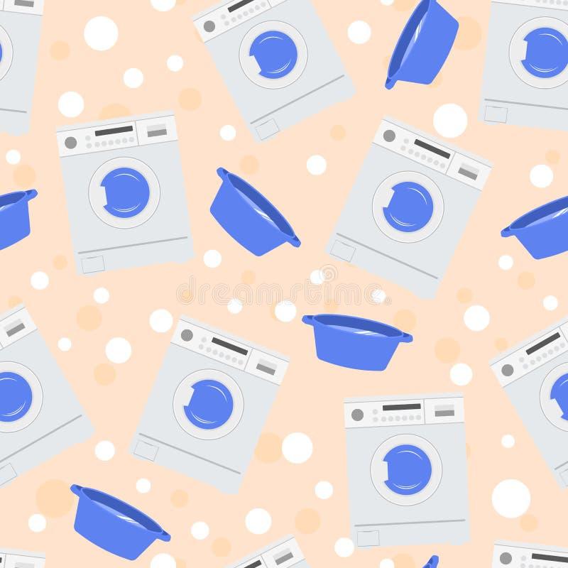 Een naadloos patroon met een wasmachine, een bassin met water stock illustratie