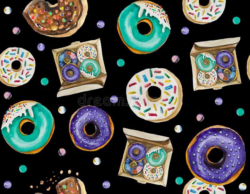 Een naadloos patroon wordt hoofdzakelijk samengesteld uit donuts en diverse feestelijke elementen en decorvoorwerpen royalty-vrije stock foto
