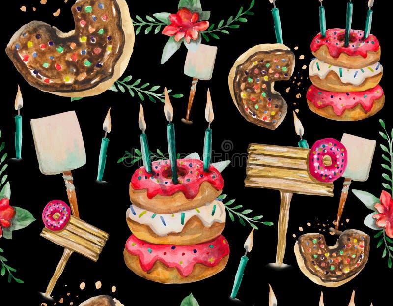 Een naadloos patroon wordt hoofdzakelijk samengesteld uit donuts en diverse feestelijke elementen en decorvoorwerpen stock illustratie