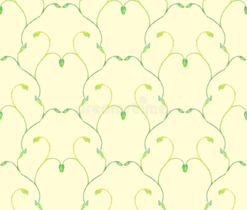 Een naadloze achtergrond van waterverf groene takken stock illustratie