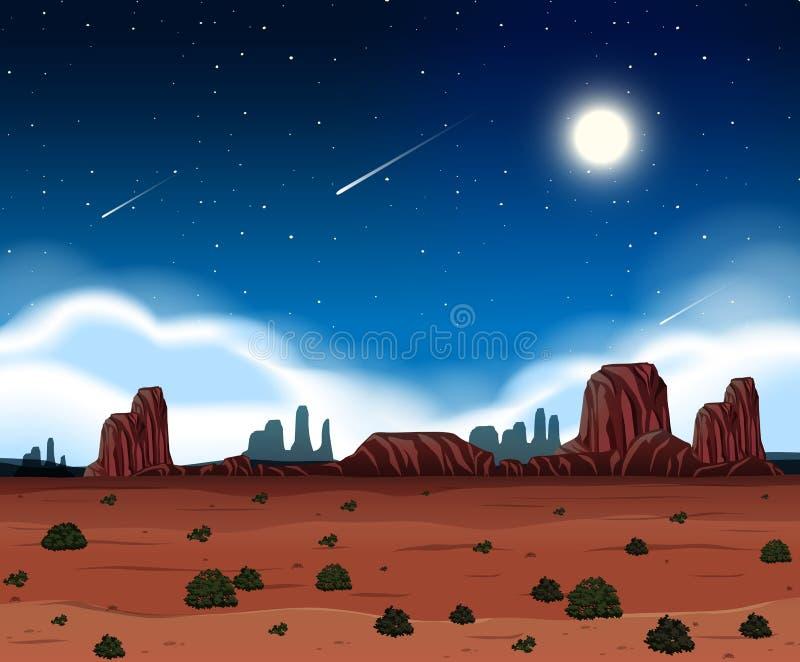Een nacht bij woestijn vector illustratie