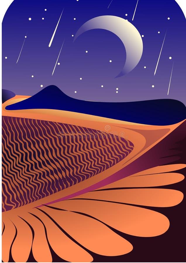 Een nacht in de woestijn stock afbeelding