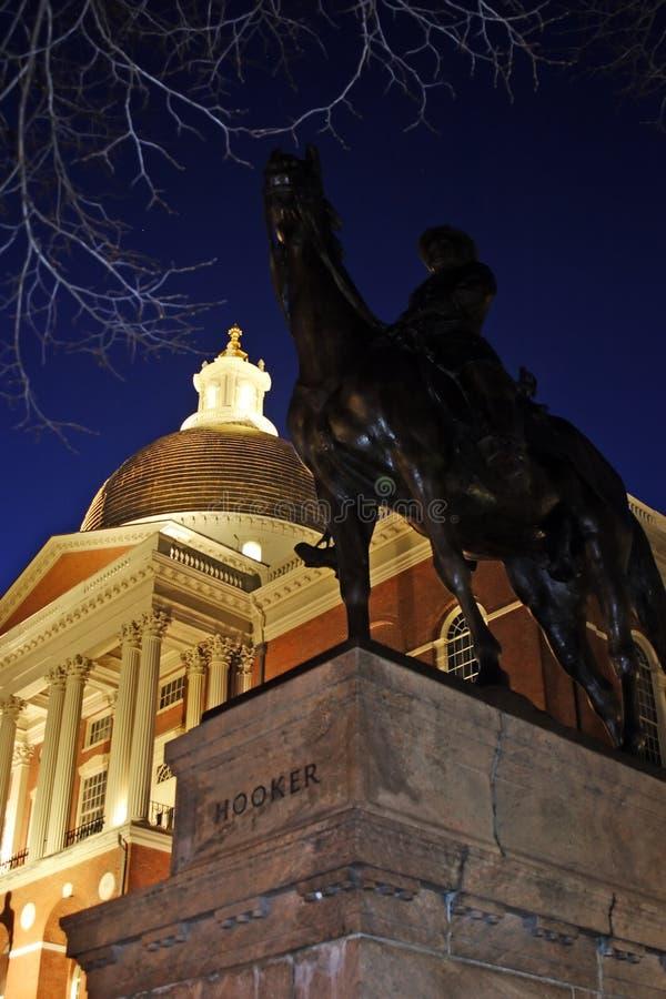 Een nacht van het Huis van de Staat van Massachusetts, Boston, de V.S. wordt geschoten die stock afbeelding