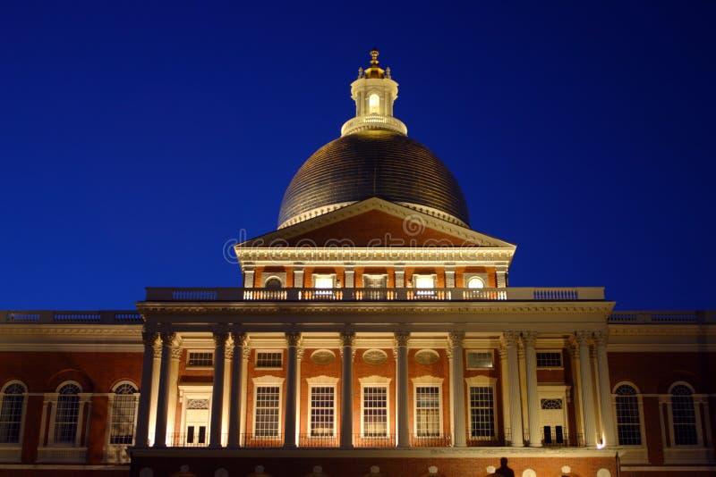 Een nacht van het Huis van de Staat van Massachusetts, Boston, de V.S. wordt geschoten die royalty-vrije stock foto's