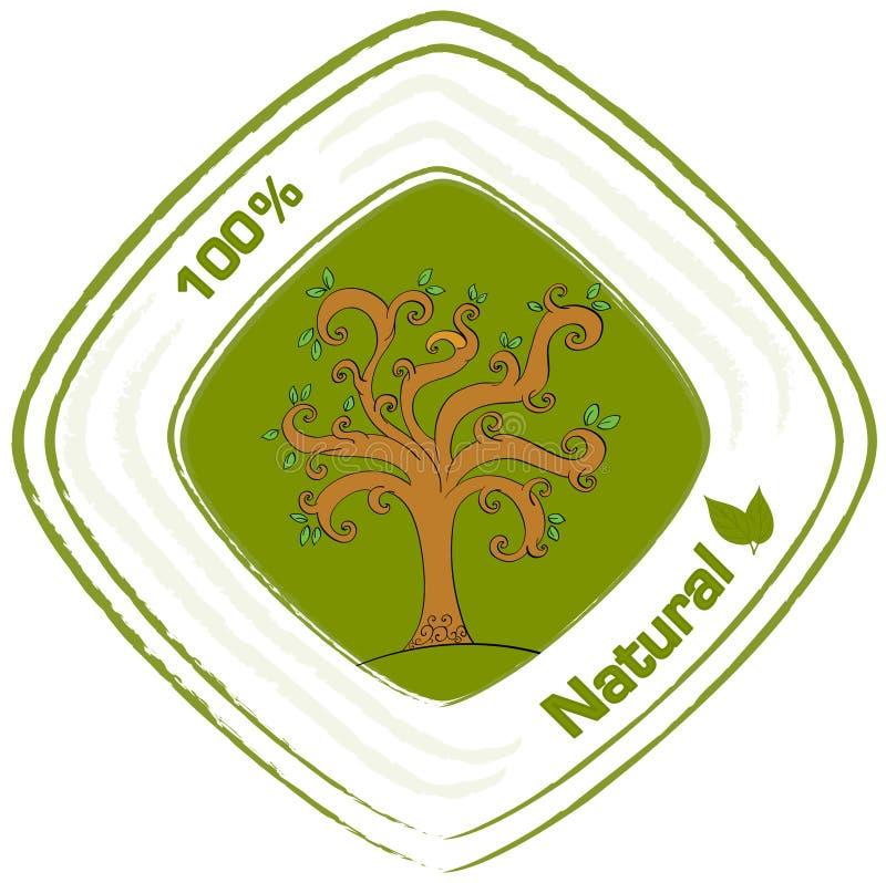 Een natuurlijk etiket met een boom royalty-vrije illustratie