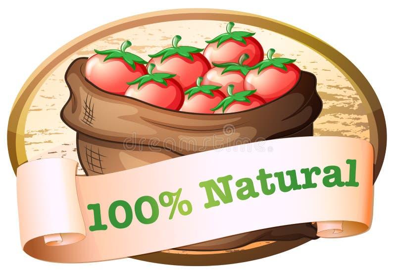 Een natuurlijk etiket met een zak van verse tomaten vector illustratie