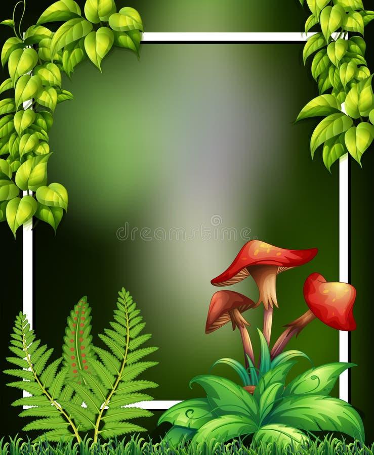 Een Natuurlijke Groene Kader en een Paddestoel vector illustratie