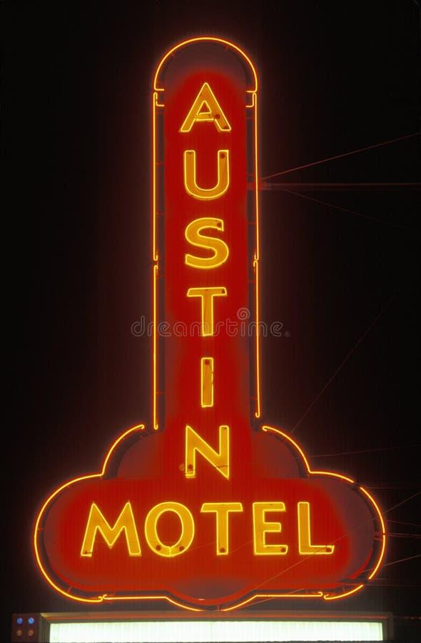 Een neonteken dat ï ¿ ½ Austin Motelï ¿ ½ leest royalty-vrije stock foto