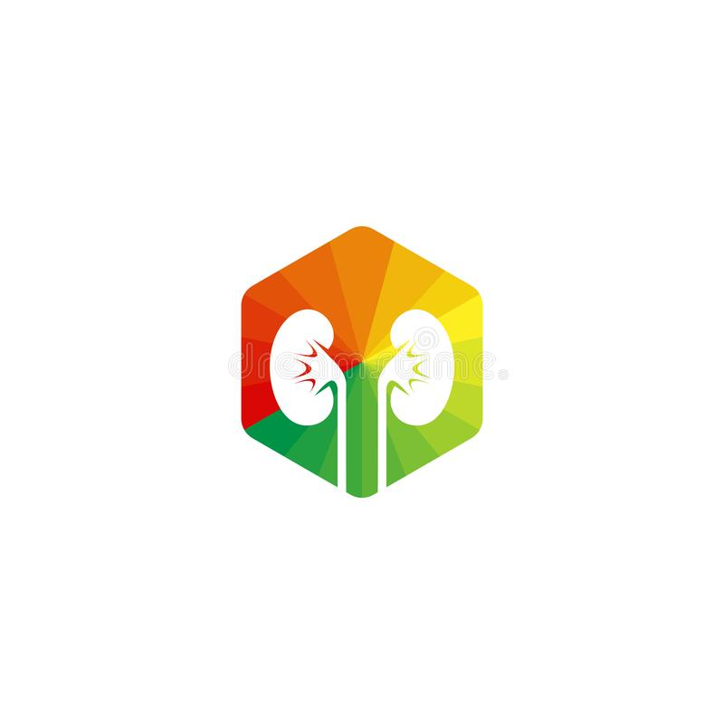 Een nierembleem Urologiepictogram kleurrijk hexagon teken stock illustratie
