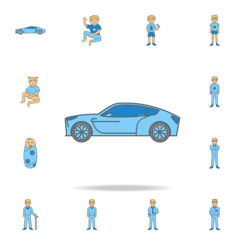 een nieuw pictogram van het de kleurenoverzicht van de generatieauto Één van de inzamelingspictogrammen voor websites, Webontwerp vector illustratie