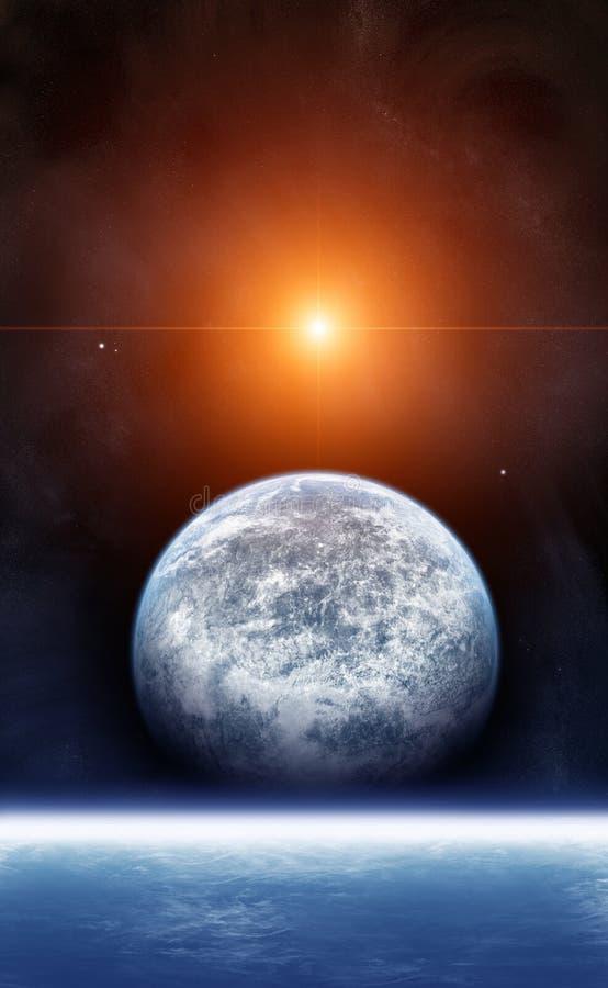 Een nieuwe dageraad in de ruimte stock illustratie