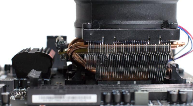 Een nieuwe generatie van motherboards met het koelen stock afbeelding