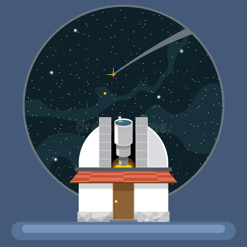 Een nieuwe telescoop met antennes en mening aan ruimte en sterren royalty-vrije illustratie